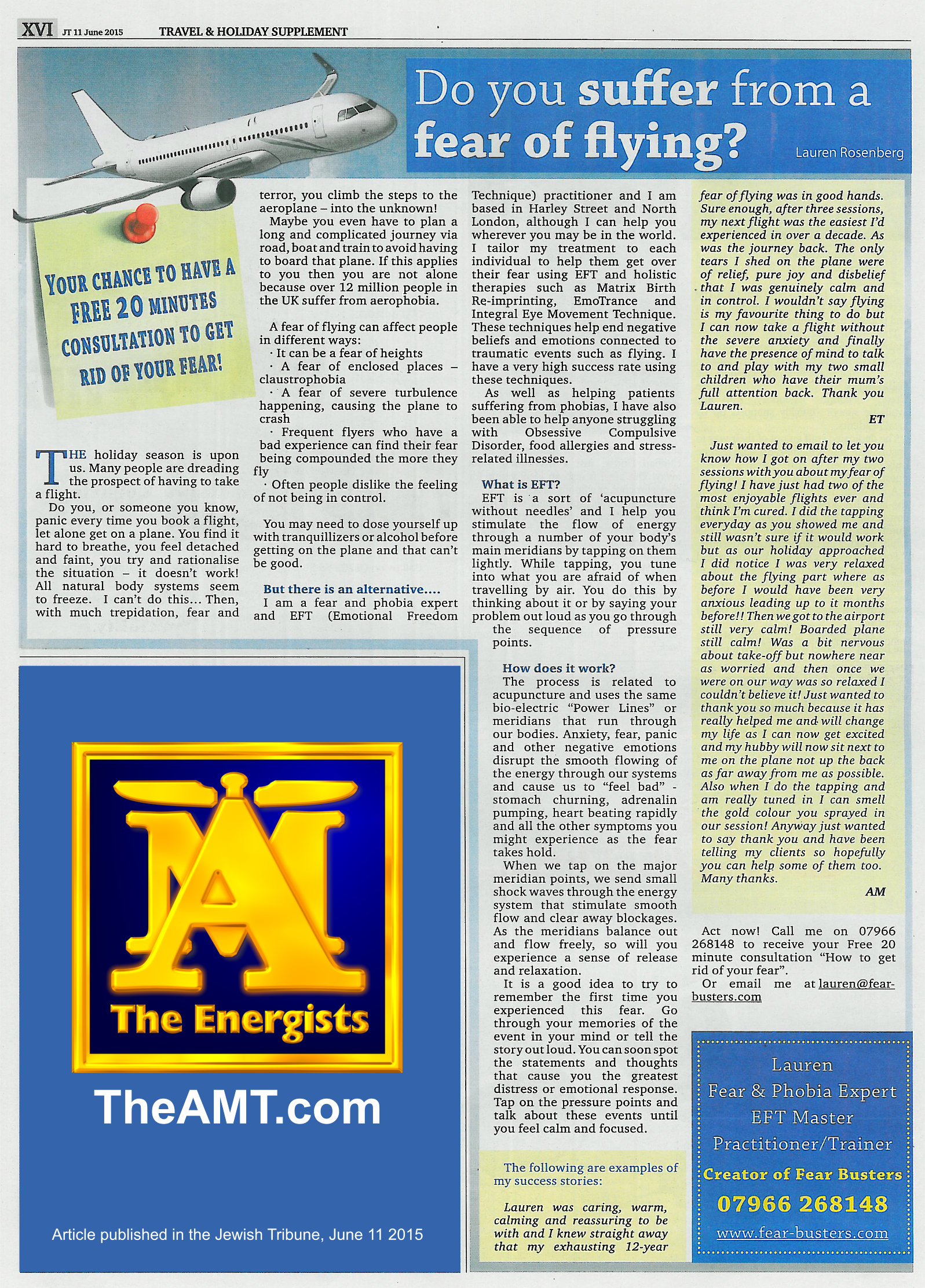Lauren Rosenberg Fear Of Flying Energy EFT Article