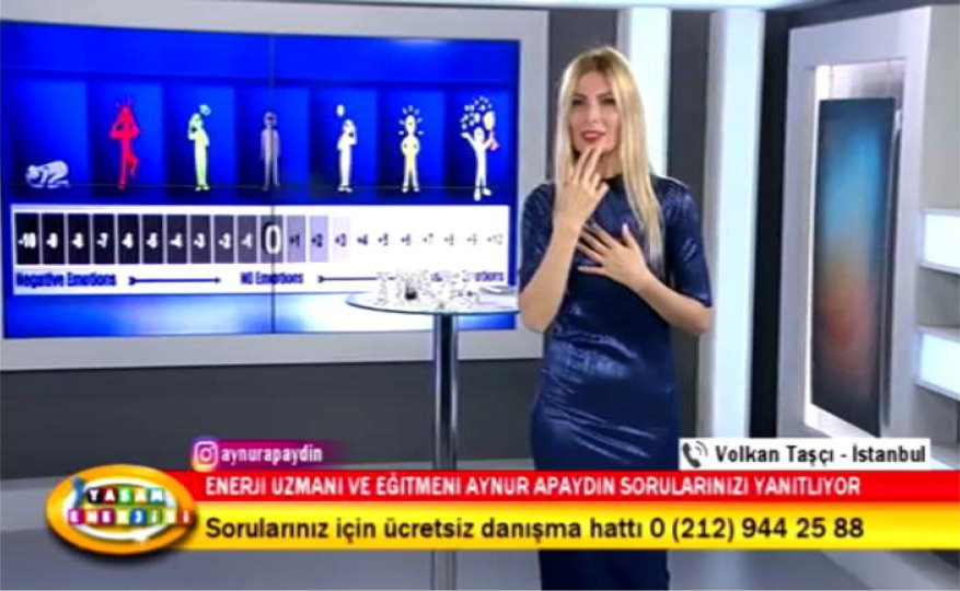 Aynur teaching the viewers how to tap Energy EFT.