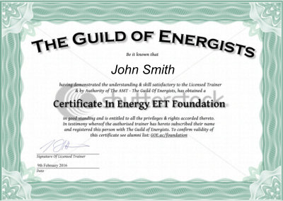 Example Certificate - Energy EFT Foundation Course