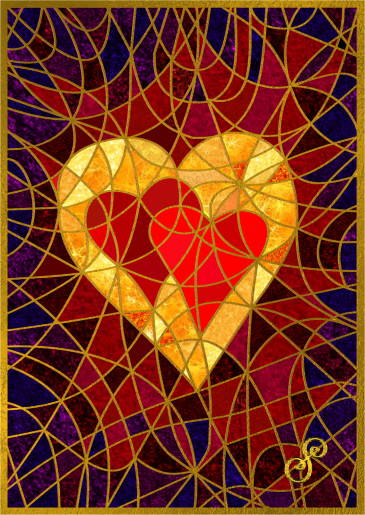 Make Love Your Goal by Silvia Hartmann - Gold heart and two red hearts painting