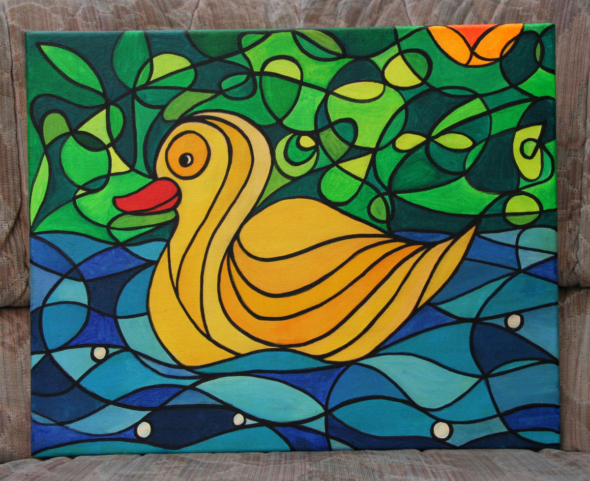 Yellow Duck Painting by Silvia Hartmann - Happy Duck on a pond