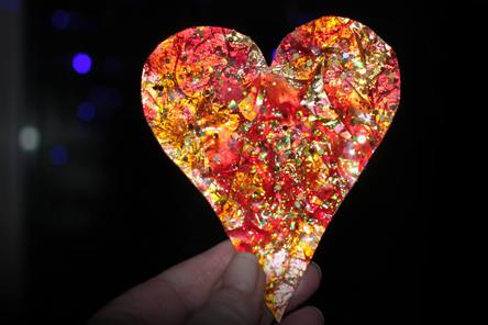 Fiery Heart Magic Resin Heart