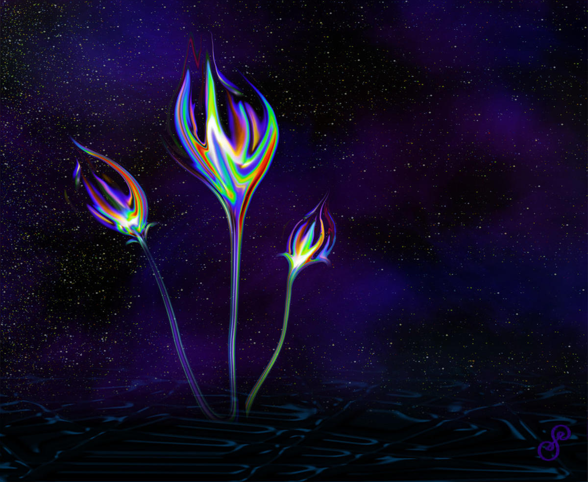 Future Flowers Original Digital Energy Art by Silvia Hartmann