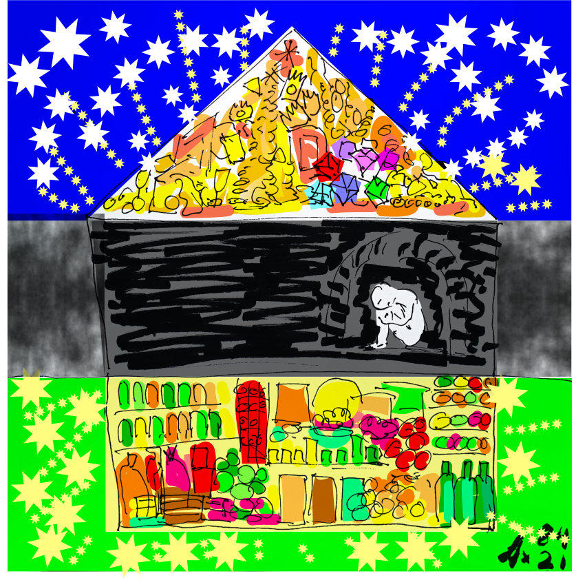 3 Levels drawing + colour