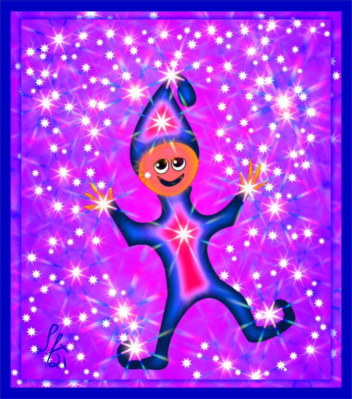 Happy Elf who grants wishes in blue and purple with stars