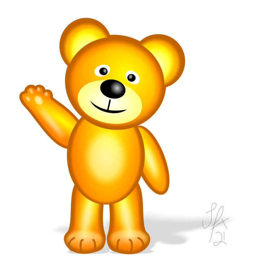 Golden Teddy stands and waves by Silvia Hartmann