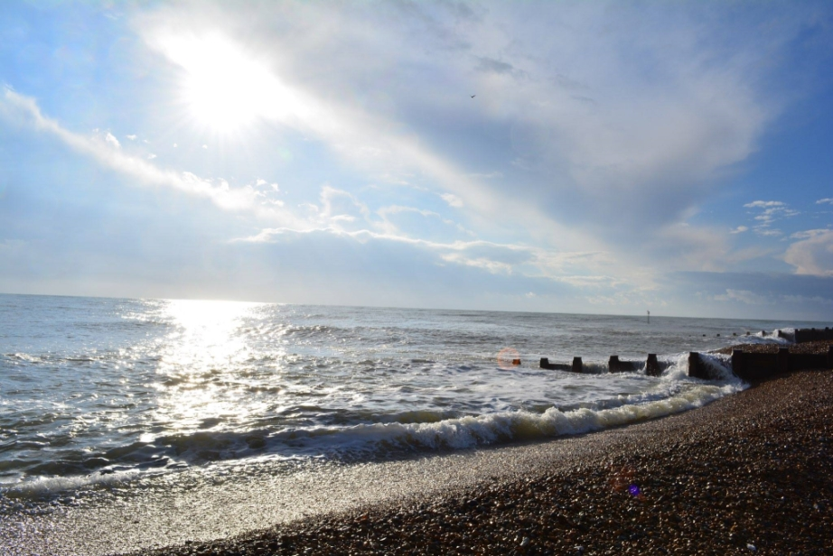 Sunny Eastbourne beach and sea photo by Katerina Kalchenko