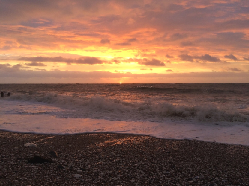 Eastbourne seafront at sunset by Laura Moberg